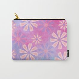 Girly pink teal lavender watercolor floral patttern Carry-All Pouch