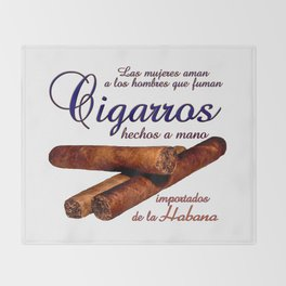 Cigarros Hecho a Mana - Cigars Rolled by Hand Throw Blanket