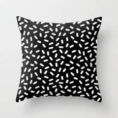 Bingo - black and white sprinkle retro modern pattern print monochromatic trendy hipster 80s style Throw Pillow
