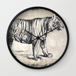 Vintage Tiger Sketch (Monochrome) Wall Clock