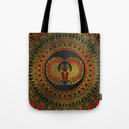 Egyptian Scarab Beetle - Gold and red  metallic Tote Bag