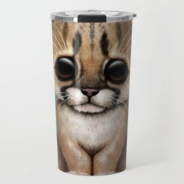 Cute Cougar Cub Dj Wearing Headphones on Blue Travel Mug
