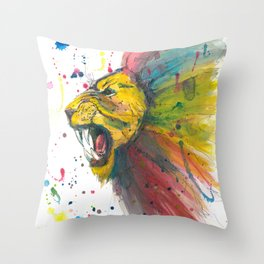 Lion - Watercolor Painting Throw Pillow