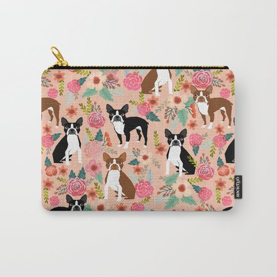 Boston Terrier cute floral pattern spring summer happy pet portrait dog person gift must haves dogs Carry-All Pouch