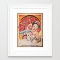 frida kahlo Framed Art Prints featuring Frida kahlo by Magdalena Almero
