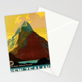 retro New Zealand travel poster Stationery Cards