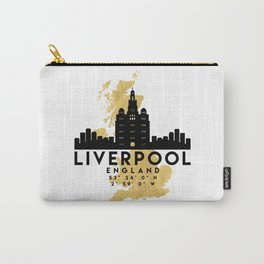LIVERPOOL ENGLAND SILHOUETTE SKYLINE MAP ART Carry-All Pouch