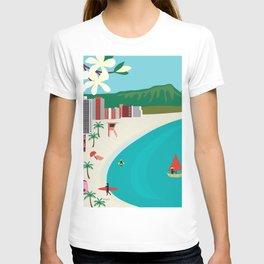 Oahu, Hawaii - Skyline Illustration by Loose Petals T-shirt