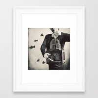 butterfly Framed Art Prints featuring The Butterfly Releaser by elle moss