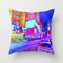 Pop Art Times Square Throw Pillow