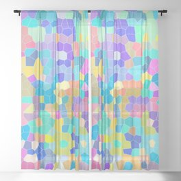 Stained glass print, colorful crystal shapes Sheer Curtain
