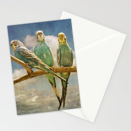 Parakeets perched on a branch againts a cloudy blue sky Stationery Cards