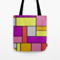 mondrian Tote Bags featuring Mondrian #6 by Ron Trickett (Rockett Graphics)