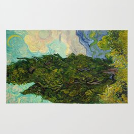Cypresses Oil Painting Landscape Vincent van Gogh Rug
