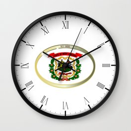 West Virginia State Flag Oval Button Wall Clock