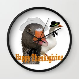 Happy Thanksgiving Pilgrims Wall Clock