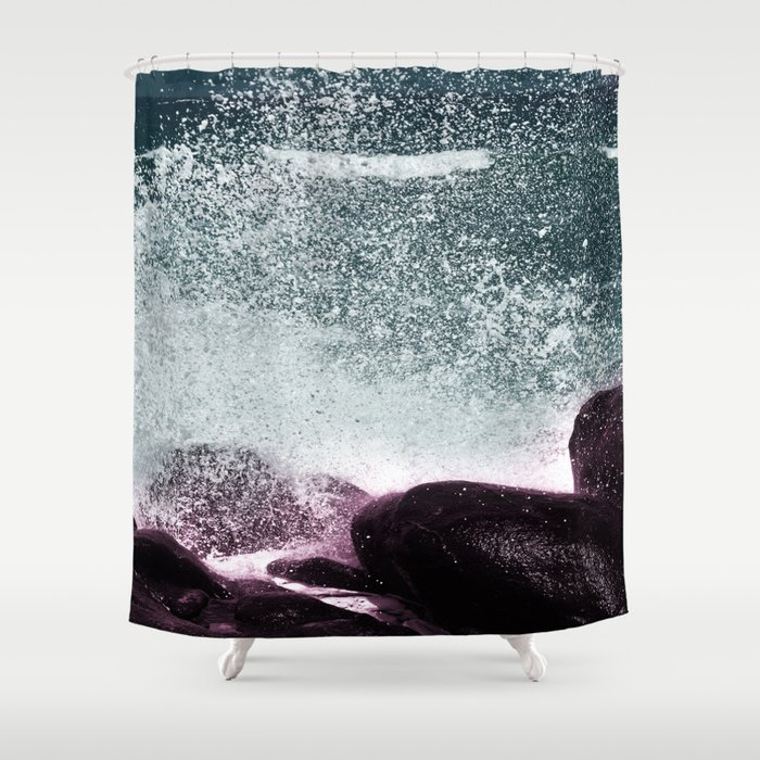 Navy Blue Sea Water Shower Curtain by printsproject | Society6