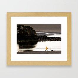 Rainy Beach Dogwalk Framed Art Print