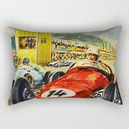 1957 Grand Prix Motor Racing Nurburgring Germany Vintage Advertising Poster Rectangular Pillow