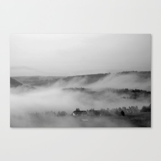 Landscape with fog Canvas Print