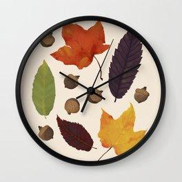 Autumn Treasure Hunting - Fall Leaves and Acorns Wall Clock