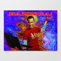 bazinga Canvas Prints featuring Bazinga Sheldon! by JT Digital Art