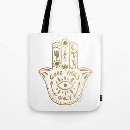 White Gold Hamsa Boho Good Vibes Only Symbol Tote Bag