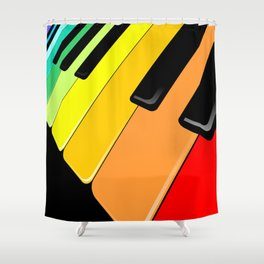 Piano Keyboard Rainbow Colors  Shower Curtain