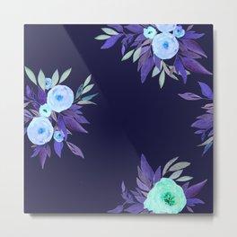 Floral dark blue Metal Print