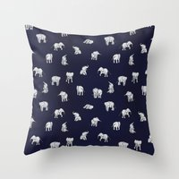 indian Throw Pillows featuring Indian Baby Elephants in Navy by Estelle F