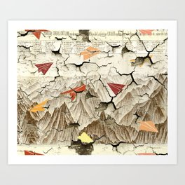 Peeling Pyrenees Paper Planes Art Print