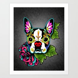 Boston Terrier in Black - Day of the Dead Sugar Skull Dog Art Print