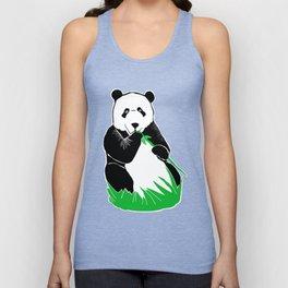 Panda Eating Bamboo Printmaking Art Unisex Tank Top