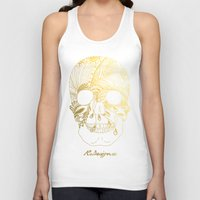 gold foil Tank Tops featuring Gold Foil Patterned Skull by RsDesigns