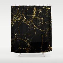 Golden Marble - Black and gold marble pattern, textured design Shower Curtain