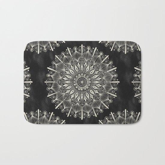 Vintage Mandala on black Bath Mat