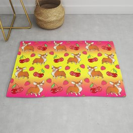 Cute happy playful funny puppy corgi dogs, red sweet summer strawberries and cherries bright sunny yellow and raspberry pink fruity pattern design. Rug