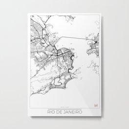 Rio de Janeiro Map White Metal Print