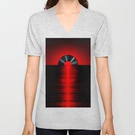 Vinyl sunset red Unisex V-Neck