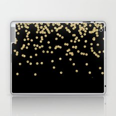 Sparkling gold glitter confetti on black - Luxury design Laptop & iPad Skin