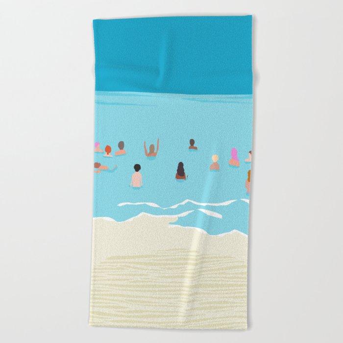 Stoked - memphis throwback retro neon pop art illustration socal cali beach surfing swimming sea Beach Towel
