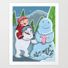 Valentine Yeti Art Print