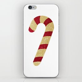 Red And Gold Glitter Candy Cane iPhone Skin