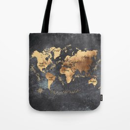 world map 147 gold black #worldmap #map Tote Bag