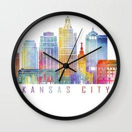 Kansas city skyline  landmarks  in watercolor Wall Clock