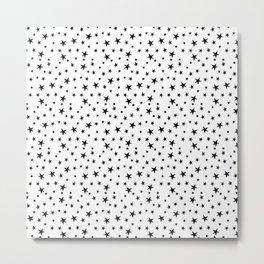 Mini Stars - Black on White Metal Print