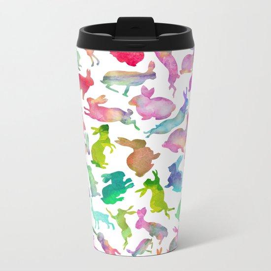 Watercolour Bunnies Metal Travel Mug