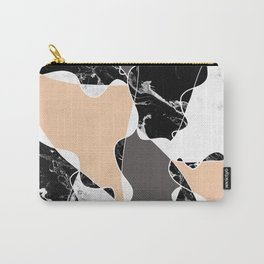 Modern black white marble gray peach color block Carry-All Pouch
