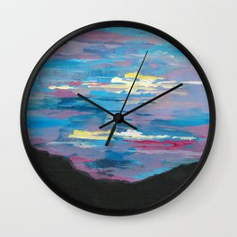 Sunset, Multi-Color Sky Painting Wall Clock