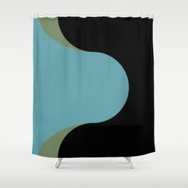 A strong Blue circular wave entering a green and black seaside. Shower Curtain